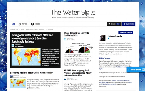 global water security, horizon scanning