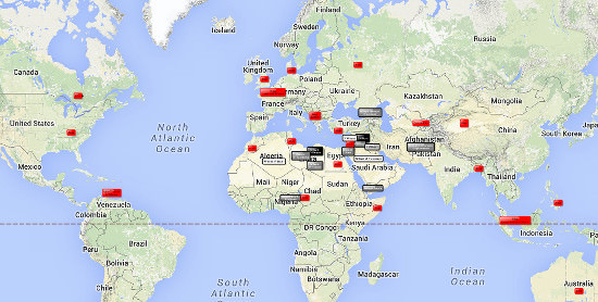 Islamic State world map, ISIS, IS, ISIL