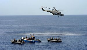 Lynx Helicopter Hovers Over Suspected Pirates MOD