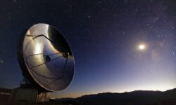 Image of the Swedish-ESO 15m Submillimeter Telescope (SEST) at ESO's La Silla Observatory, located on the outskirts of the Chilean Atacama Desert