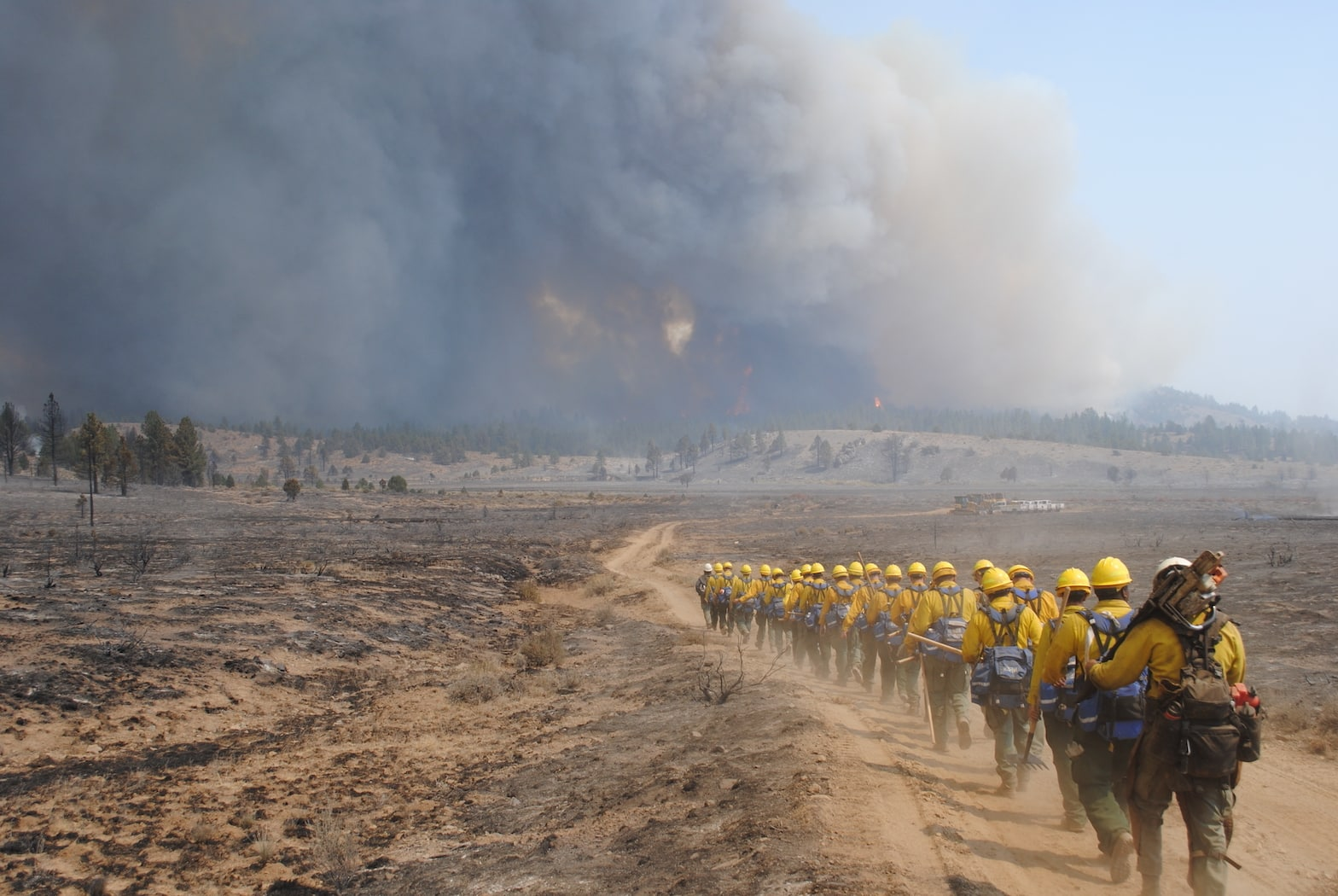 U.S. Army Soldiers from the 2-3 Infantry Battalion walk in a line while deployed in support of the Department of Defense wildland firefighting response operations on the Dixie Fire in Plumas National Forest, California, Sept. 4, 2021